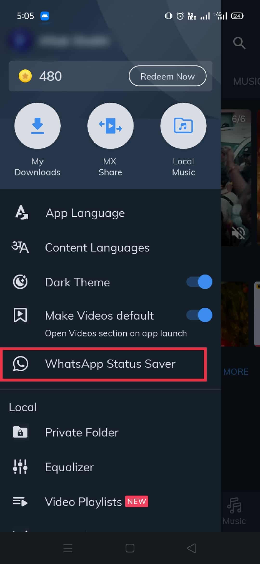 Use Video to player to download status 1