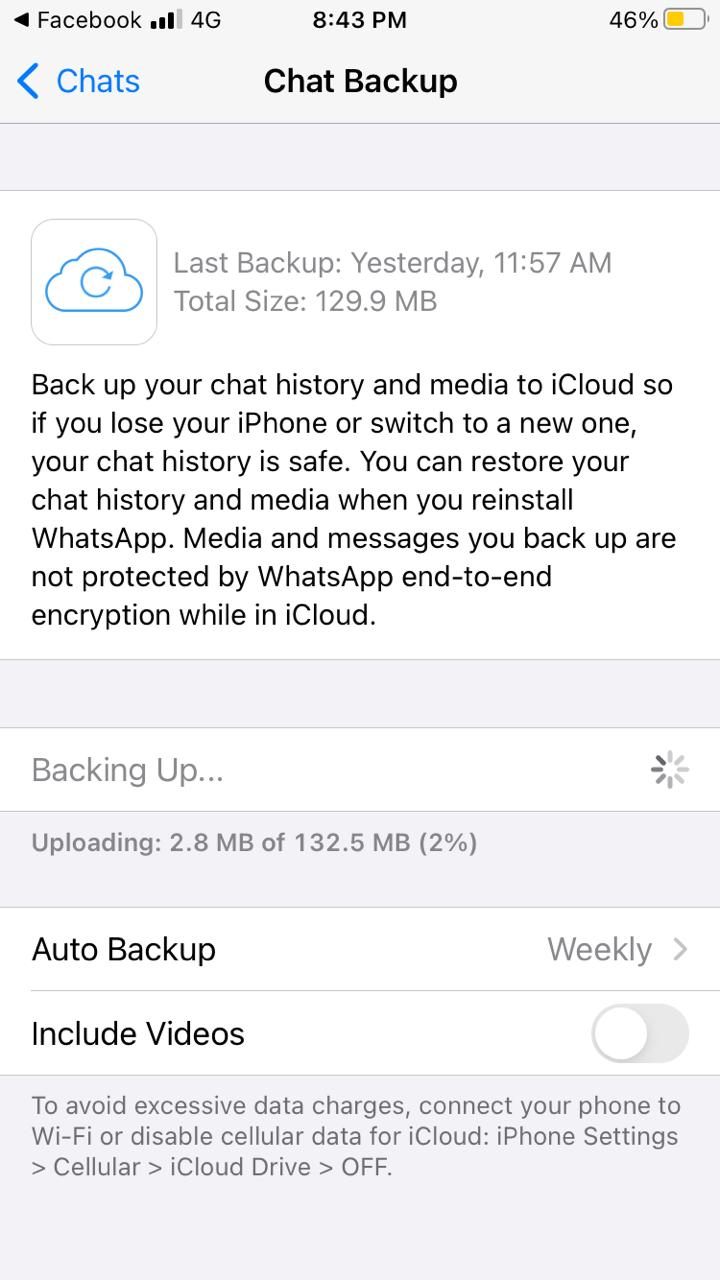restore whatsapp chats on iphone